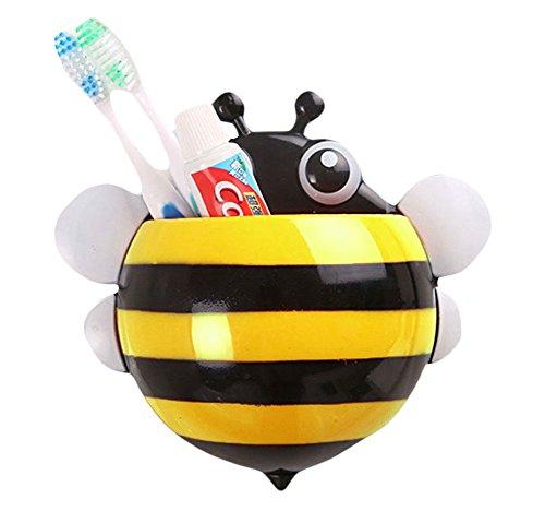 Demarkt Bienen Zahnbürstenhalter Biene Saugnapf Zahnbürsten Halterung Multifunktionswand Saugnapf Aufbewahrung Bad Accessoires Gelb