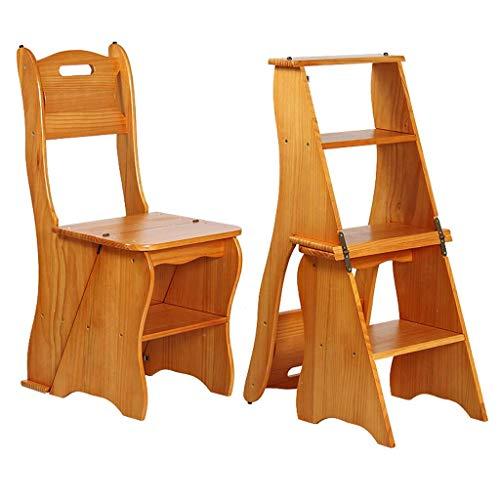 Equipo diario Taburete de escalera de madera dura Taburete de escalera multifunción para el hogar Sillas de madera Asientos Plegables Escaleras móviles de cuatro escalones Silla Zapatero Estante de