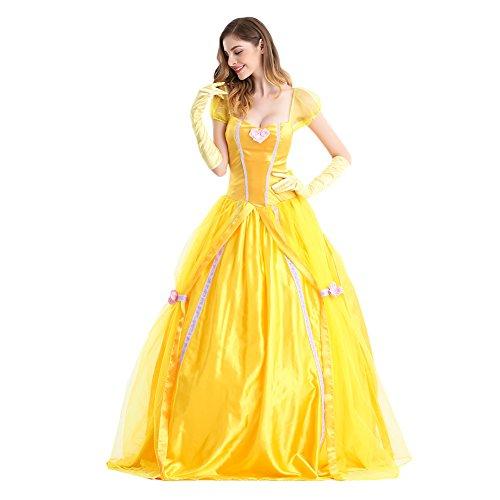 Fuman Damen Prinzessin Kleid Wunderschoen Blaues Kurzarm Abendleider für Party Halloween Fasching Karneval Kostüm Gelb XL