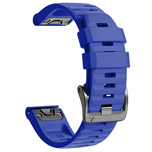 NotoCity Garmin Fenix 6 Correa, 22mm Easy-Fit Silicona Reemplazo Correa para Garmin Fenix 6/Fenix 6 Pro/Fenix 5/Fenix 5 Plus/Forerunner 935/945,no Adapta a Fenix 6X, 6s (Azul Real)