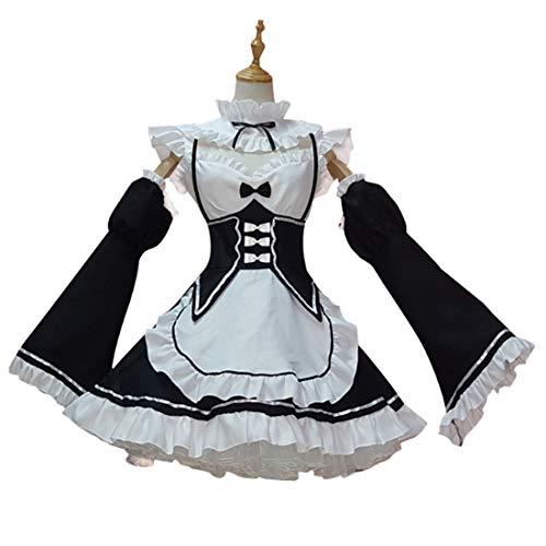 xSuper Zero Cosplay Dienstmädchen Outfit Anime Re Leben in Einer Anderen Welt als Ram Rem Cosplay Kostüm Set mit Socken Outfit für Anime Ausstellung & Thema Party & Bühnenperformance - S