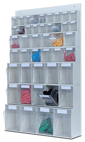 hünersdorff MultiStore Wand-Set: Regalsystem aus Rückwand & 44 Klarsichtbehälter mit Kippschublade (MultiStore Riegel Nr. 4, 5, 6 und 9) aus Polystyrol