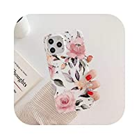 LLYAP Art Vintage Rose Flower Phone case for iPhone 12 11 Pro Max 7 8 Plus SE2020 X Xr Xs Max Matte Floral SoftTPU裏表紙-white-for iPhone XR