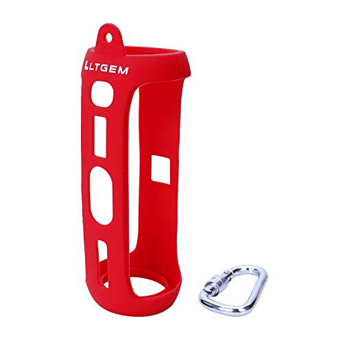LTGEM Silicone Carrying Travel Case for JBL FLIP 5 Waterproof Portable Bluetooth Speaker with Extra Carabiner - Red
