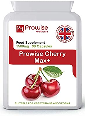 Cherry Max 1500mg 90 Capsules High Strength Montmorency Cherries - UK Manufactured | GMP Standards by Prowise Healthcare