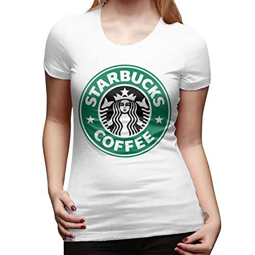 Damen Starbucks Logo Merch Kurzarm Bekleidung T-Shirt Rundhalsausschnitt Tee T Shirt Baumwolle Sommer für Frauen White XL