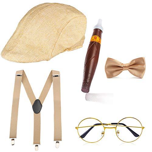 Haichen des années 1920 Hommes Gatsby Gangster Costume Accessoires Set - Gatsby Bande-d'annonce Béret Chapeau Bretelles Pré Tied Noeud Noeud Lunettes Jouet Faux Cigares (Beige)