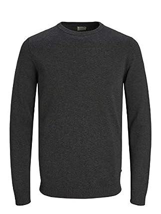 Jack & Jones Jjebasic Knit Crew Neck Noos suéter, Gris (Dark Grey Melange Dark Grey Melange), Large para Hombre