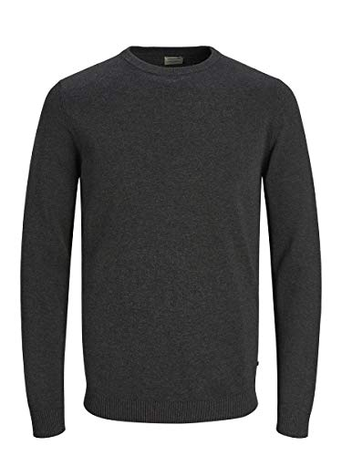 Jack & Jones Jjebasic Knit Crew Neck Noos suéter, Gris (Dark Grey Melange Dark Grey Melange), Medium para Hombre