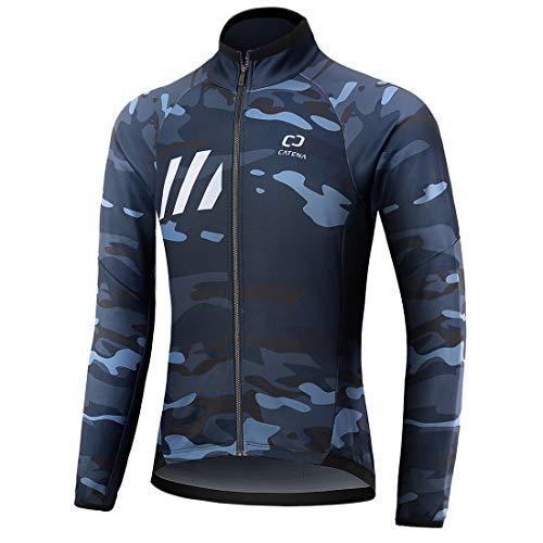 CATENA Hombre Chaqueta de Ciclismo Senderismo Esquí Correr Abrigo Prueba de Viento Invierno Térmico Impermeable Softshell Jacket al Aire Libre Deportiva