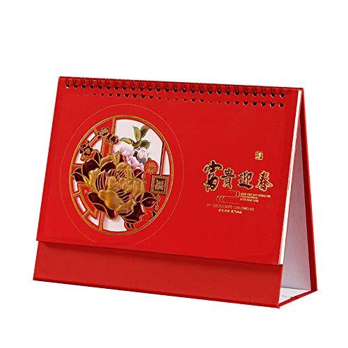 Chinesische Kalender 2021 Männer 2021 Kalender 2021 Tischkalender für das Mondjahr des Ochsen,21x8x14cm,Chinesisches Papierschnittblumenmuster Motivationskalender 2021 für 2021 Neujahrsbüro Home Stud