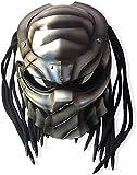 GOLDGOD Casco Predator, Casco Integral de Motocicleta Hecho a Mano, Casco de Locomotora de Personalidad con máscara de Cosplay de Guerrero de Hierro y luz roja Dot/FMVSS-218 Normas de Seguridad,B,XL