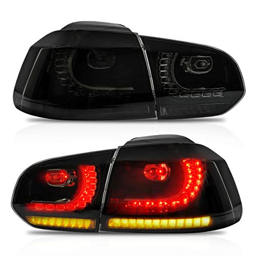 VLAND Tail lights Assembly Fit for 2010-2013 Volkswagen GOLF 6 MK62, 2012-2013 Golf R, Taill Lamp assembly with Sequential Turn Signal, LED DRL light, Plug-and-play, smoke