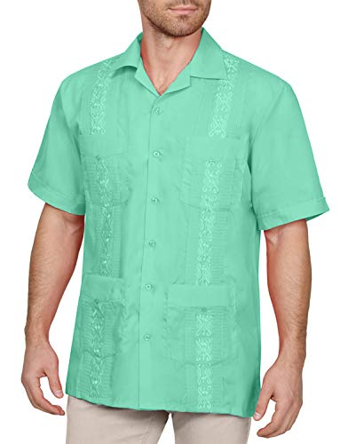 NE PEOPLE Men's Short Sleeve Cuban Guayabera Button Down Shirts Top S-4XL Aqua
