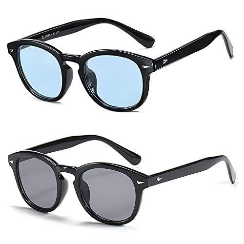 SHEEN KELLY 2PCS Coloridas Hombre gafas de sol de moda retro Mujer gafas de verano redondo