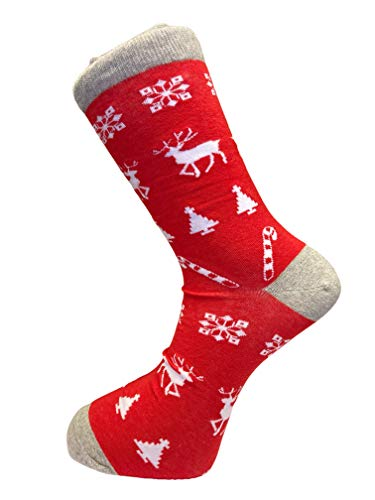 red reindeer Christmas xmas men-s cotton socks loud xmas gift present secret santa by Frederick Thomas of London fun, funky, colorful, wacky stocking fillers for men