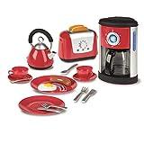 Spielzeug Küchenartikel - Toaster Wasserkocher Kaffeemaschine Geschirr - Spielküche Spielzeug Zubehör - Toast Teekocher Frühstück - Frühstücksset Kinder Küche Rot Teller Lebensmittel - ohne Batterien