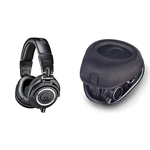 Audio-Technica ATH-M50x Professional Monitor Headphones, Black with Headphone Case