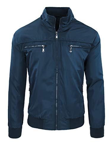 Chaqueta de hombre casual Primavera Verano chaqueta sudadera moto #A2 Blu Tasche Frontali XXXL