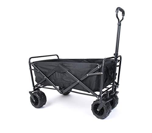 Amazon Brand - Umi Bollerwagen Offroad Transportwagen Handwagen faltbar Gartenwagen die Reifen mit Lager für Alle Gelände Geeignet (Schwarz)