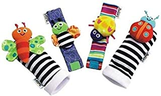 4pcs Neonatal toy cartoon animal rattles baby supplies baby animal watch with wrist strap socks with bells baby toys
