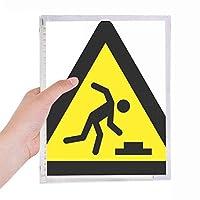 警告シンボルイエローブラックつまずきのトライアングル 硬質プラスチックルーズリーフノートノート