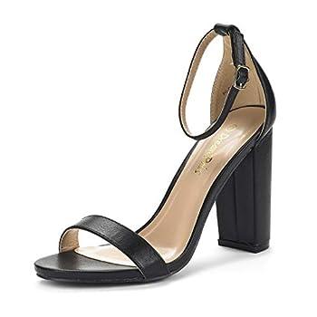 DREAM PAIRS Women s Hi-Chunk Black Pu High Heel Pump Sandals - 8 M US