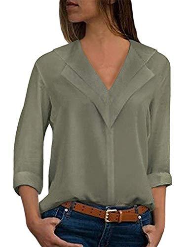ORANDESIGNE Donna Camicetta Blusa Chiffon Elegante Camicia con Scollo V Cerniera Manica Regolabile Maglietta Top Army Green IT 38