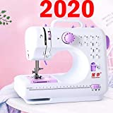 Máquina de coser Eofiti mini máquina de coser eléctrica portátil con pedal de pie luz LED overlock 2 patrones de costura inversa bordado adaptador de CA batería AA para principiantes aficionados