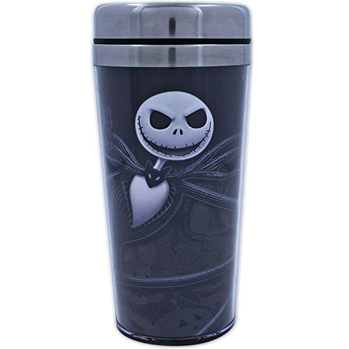 Silver Buffalo Disney Nightmare Before Christmas Jack Leaning Face Travel Bottle, 1 Count (Pack of 1), Black