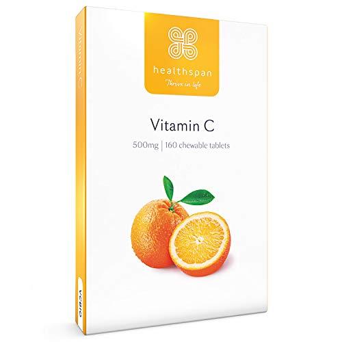 Vitamin C 500mg | Healthspan | 160 Chewable Tablets | Natural Citrus Bioflavonoids | Free of Aspartame | Vegan