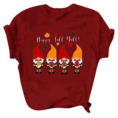 HFStorry Womens T-Shirt Christmas Tops O-Neck Casual Graphic Cute Holiday Tops Tee Shirt Loose Short Sleeve Blouse Wine