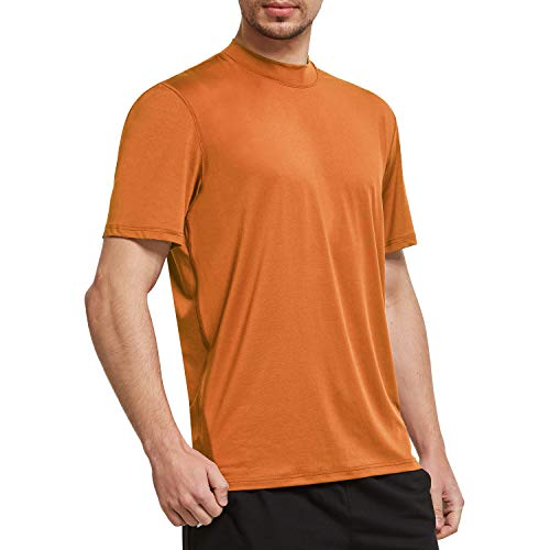 Ogeenier Men's Short Sleeve Athletic T-Shirt Mock Neck Running Workout Shirts,Orange,M