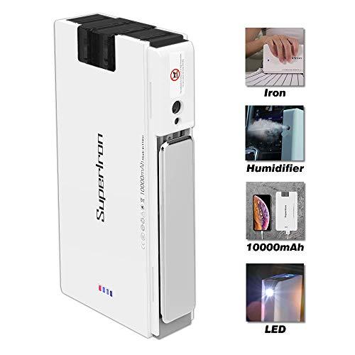 le-idea Super Iron - Fer à repasser de voyage sans fil 4 en 1 | Batterie de 10000 mAh | Humidificateur d'air | Lumière...