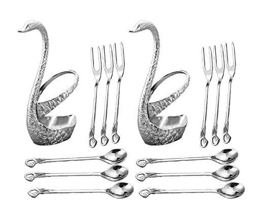 CRIVERS Juego de vajilla de acero inoxidable innovador & Conjunto de tenedor de fruta & Juego de platos y cubiertos de postre, Titular decorativo Swan con 3 tenedores y 3 cucharas (juego de 2) (Plata)