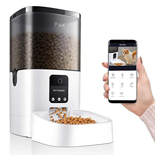 PUPPY KITTY 6L Intelligenter Futterautomat für Katze und Hunde, Automatischer Futterspender mit APP Steuerung, 1080P HD-Kamera für Sprach- und Videoaufzeichnung & Fütterung, 6 Mahlzeiten am Tag