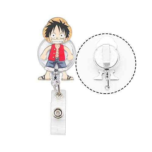 One Piece Monkey D. Luffy Retractable ID Card Badge Holder with Alligator Clip, Medical Nurse Badge ID, Office Employee Name Badge (RE-Luffy B)