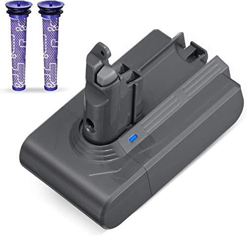 Powerextra - Batería de repuesto para V6 de 3000 mAh 21,6 V y 2 filtros de repuesto compatible con V6 DC62 DC59 DC61 DC58 Animal DC72 DC74 SV03 SV09