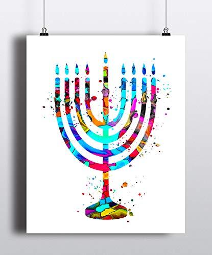 Menorah Watercolor Art Print, Hanukkah Art,Jewish Art, Chanukah Gift,Jewish Poster, Judaic Art Print, Poster,Wall Art, Giclee, Home Decor (UNFRAMED)