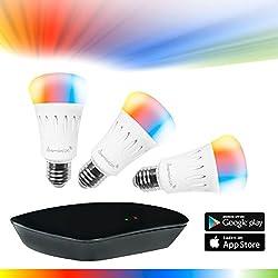 Professionelles LED-Lampen Set WLAN/WiFi, RGBW Ambiente: RGB plus warmem weiß (ca. 3000K), 3 RGBW-Lampen je 7W / 580 Lumen (A60 E27) inkl. LAN/WLAN Bridge