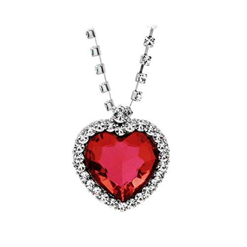 Logobeing Collar de Cristal Corazón Para Las Mujeres de Moda Romántica de Lujo Clásico Rhinestones, Regalo de la Joyería (Rojo)