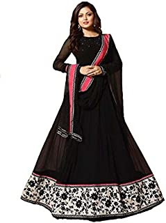 Generic Women's Georgette Fabric Embroidered and Heavy Diamond Work Anarkali Suit (LNF067, Black, 3XL)
