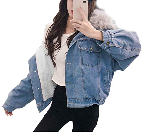 IWFREE Damen Mantel Jeansjacke Denimjacke Wintermantel Frau Winterjacke Warm Denim Jacke Outwear Lang Dicker Wolle Steppjacke Parka Winter Elegant mit Kapuze Pelzkragen Denimmantel Gefüttert Baumwolle