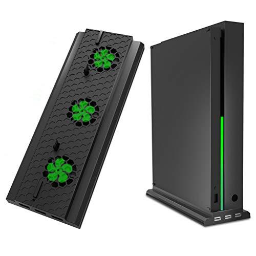 LIDIWEE Soporte de Enfriamiento Vertical Compatible con Xbox One X, Soporte de Ventilador de Refrigeración Lidiwee Compatible con Xbox One X con 3 Puertos Usb Y Una Barra de Luces