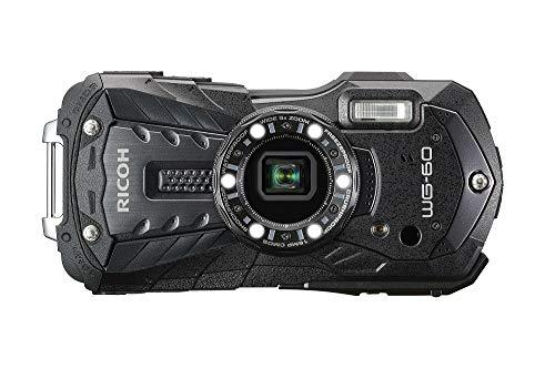 Pentax RICOH WG-60 Schwarz wasserdichte Kamera Hochauflösende Bilder mit 16MP Wasserdicht bis 14m Stoßfest bis Fallhöhe von 1,6m Unterwassermodus Ring mit 6-LEDs für Makroaufnahmen