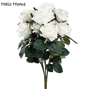 ShineBear 1 Bunch Silk Artificial Flower Roses Bouquet for Festival Office Party Home Garden Wedding Bride Memorial Day Decor 45cm – (Color: White)