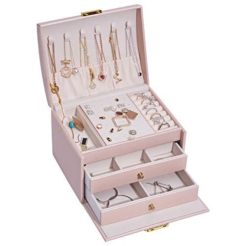 Caja de almacenamiento de joyería de tres capas cajón caja de joyería pendientes pendientes retro caja de joyería regalo-verde, 17* 14* 13cm