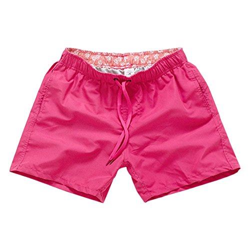 BOZEVON Homme & Femmes Shorts de Plage Pantalon Court Casual Shorts Sports été Boardshort, Rose