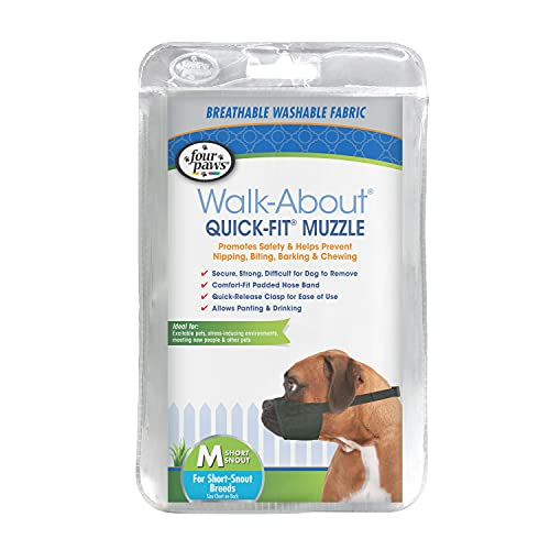 Four Paws Quick Fit Dog Muzzle, Black, Size M