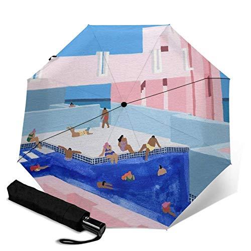 España Pool Travel Paraguas plegable automático triple plegable paraguas compacto ligero sol y lluvia paraguas